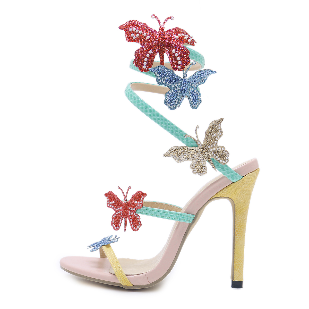New Women Bride Shoes Pointed high-heeled 9cm Diamond Tassels Butterfly Wedding Shoes Lace Flowers Wristbands Summer San's main photo