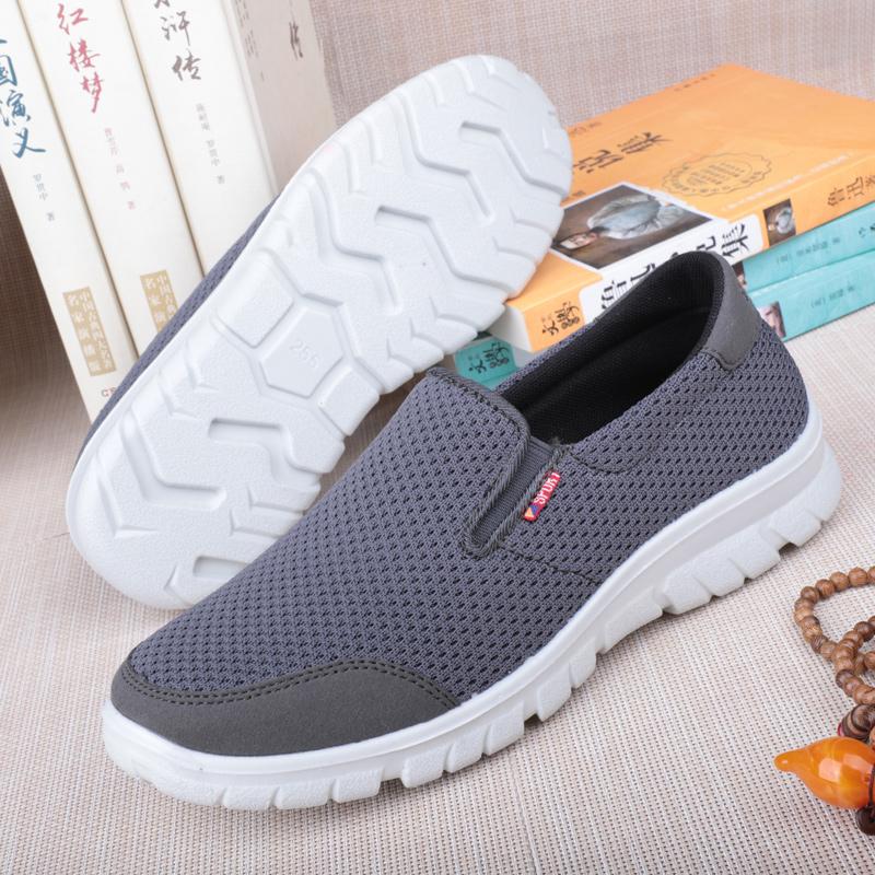 老北京布鞋男网鞋一脚蹬老年健步鞋夏季透气爸爸鞋防滑软底老人鞋