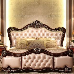 【特价】欧式古典实木床手工雕刻真皮革2人大床公主