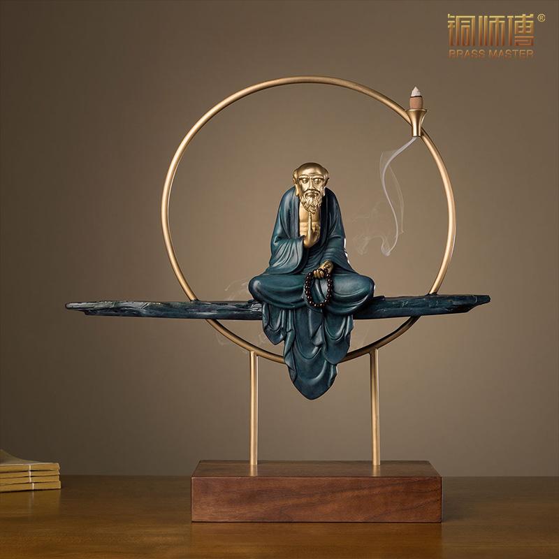 铜师傅 全铜摆件《 达摩思禅(倒流香)》家居饰品 铜工艺品