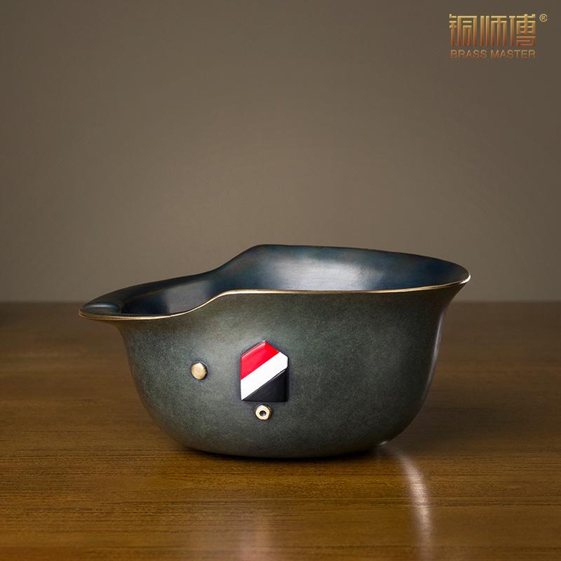 铜师傅 全铜摆件《烟缸之德盔》家居饰品 铜工艺品烟缸
