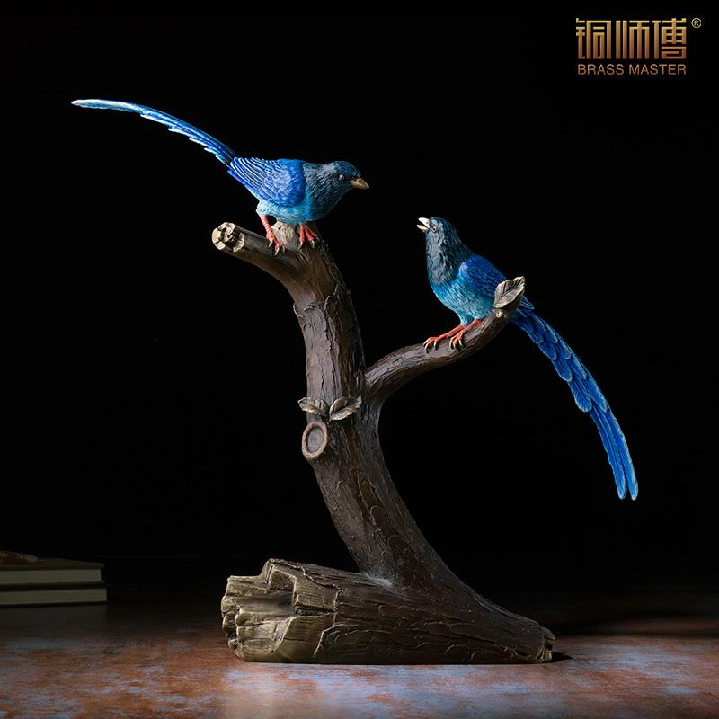 铜师傅 全铜摆件《台湾蓝鹊》铜工艺品家居饰品礼品摆件