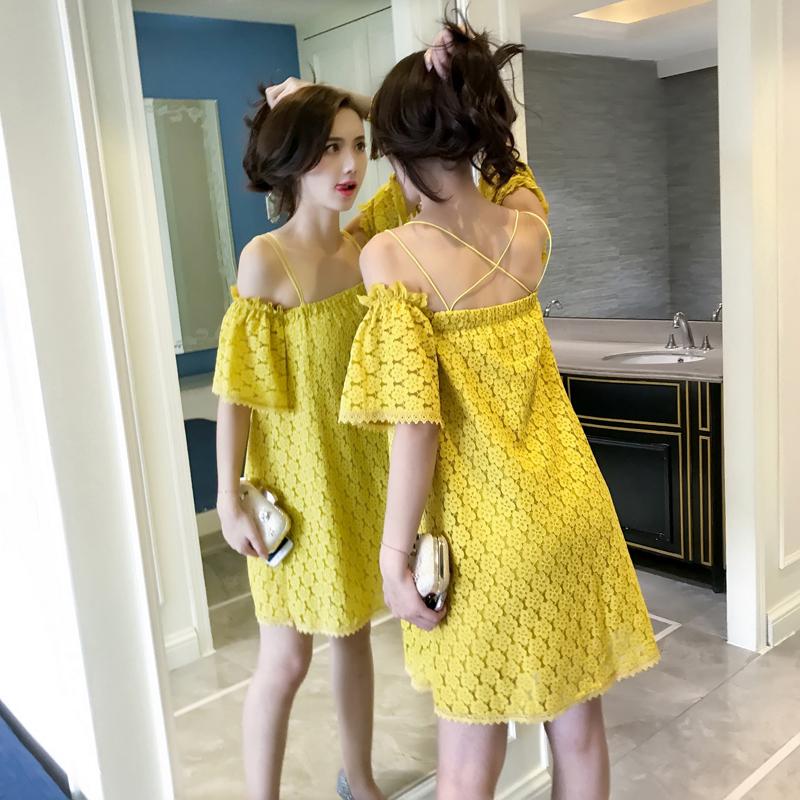 实拍夏季新款韩版宽松一字领吊带裙性感漏肩蕾丝连衣裙