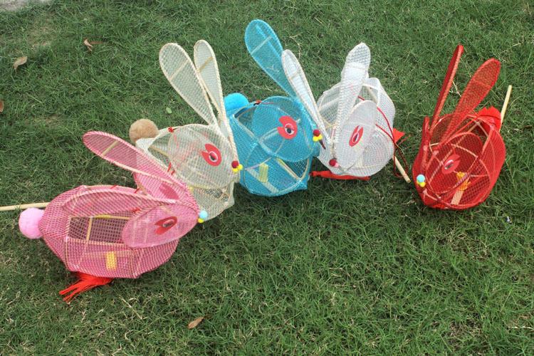 儿童中秋节灯笼手工diy制作材料包自制发光手提兔子灯笼材料包_8折