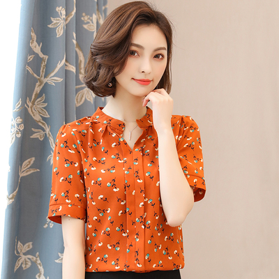 Small shirt female 2018 new spring and summer short-sleeved floral chiffon shirt women's fashion wild waist chiffon top tide