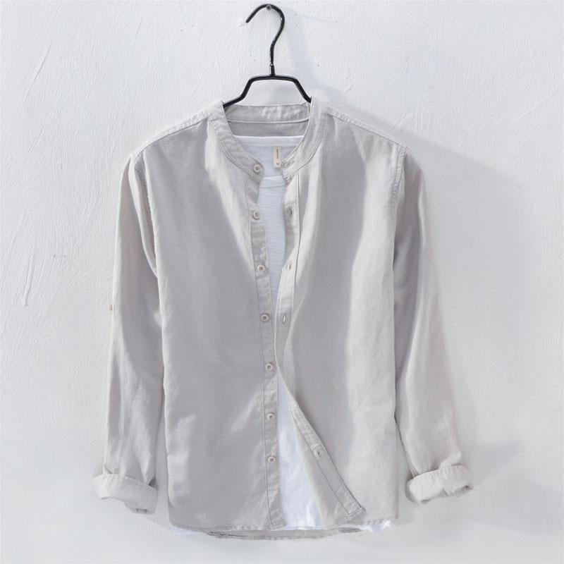 日系复古立领亚麻衬衫男长袖透气商务休闲纯色衬衣棉麻料无领上衣