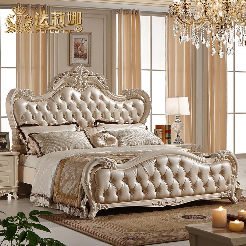 法莉娜 欧式实木床 法式真皮雕花双人床田园公主床 1.8米婚床 B08