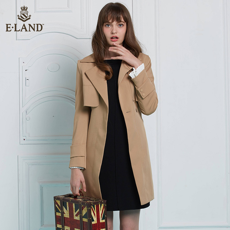 ELAND衣恋简约时尚休闲长款简约职业女装风衣外套女EEJT72357B