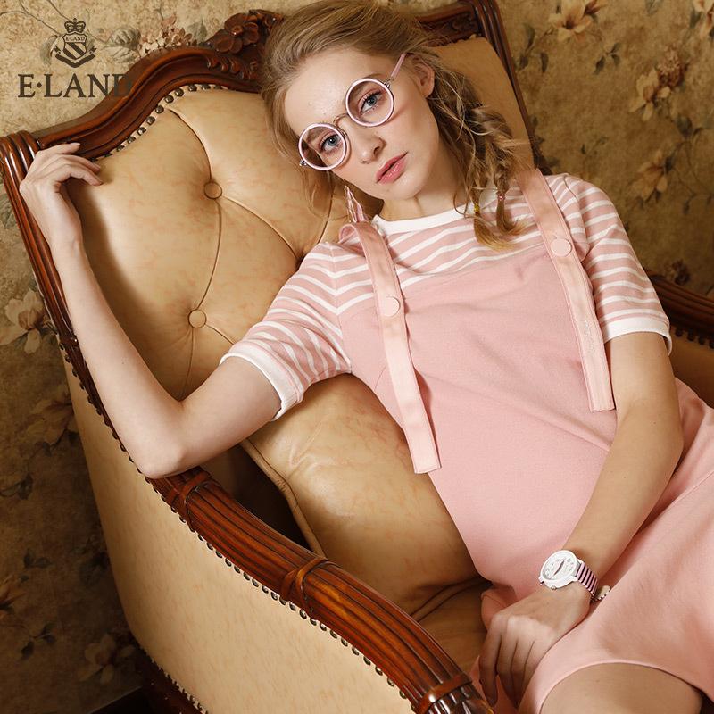 ELAND衣恋18年新款甜美可爱连衣裙撞色条纹假两件裙子EEOM86301I