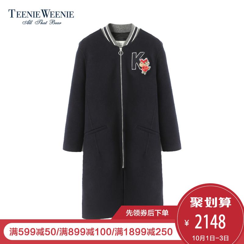 Teenie Weenie小熊2018春装新款女装中长款毛呢外套TTJW81191R