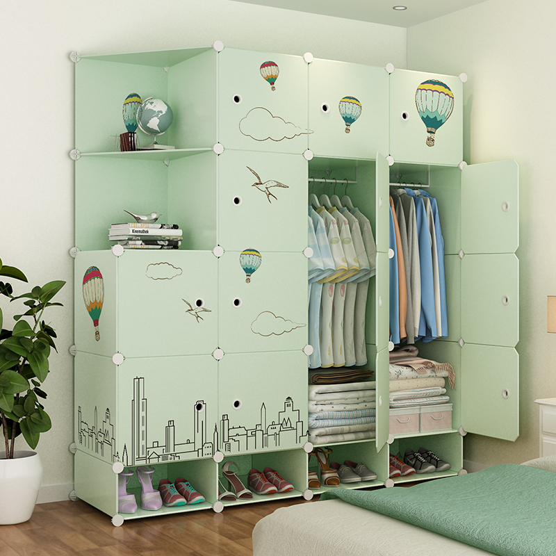 Simple wardrobe simple modern economical assembly plastic cloth wardrobe bedroom space dormitory small apartment cabinet