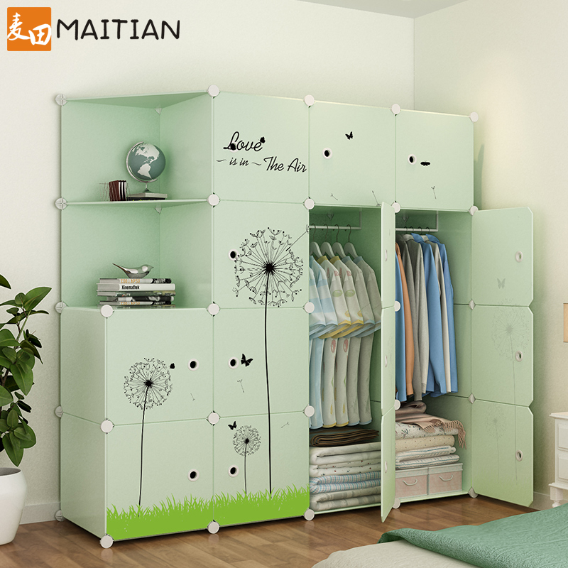 Simple wardrobe solid wood reinforced cabinet Oxford fabric double simple modern economical storage panel assembly