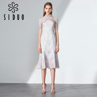 旗袍夏季2018新款女 中国风小礼服改良礼服裙伴娘连衣裙礼服S7450