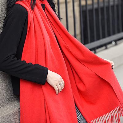 纯色 韩版百搭羊绒围巾