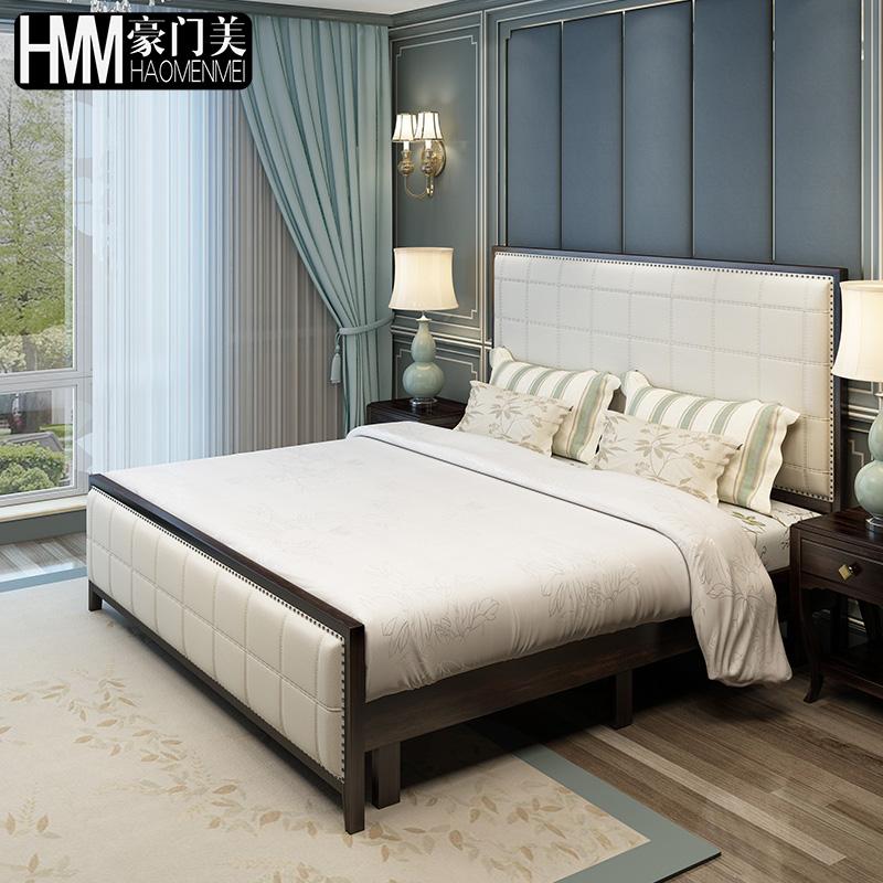 美式实木床主卧双人床1.8米轻奢黑胡桃1.5欧式新古典真皮床大婚床