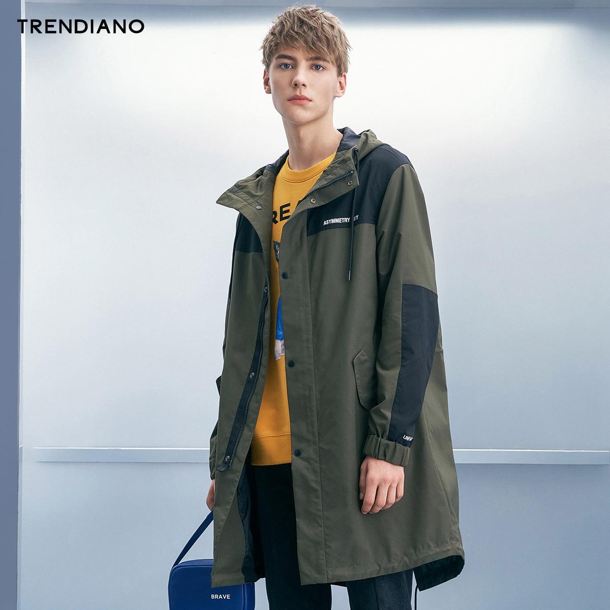 TRENDIANO新2018男装秋装拼接字母中长款宽松风衣外套3GC304764P