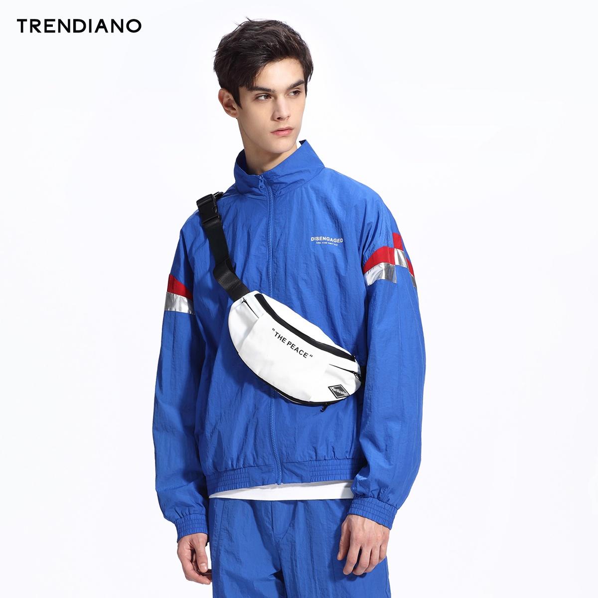 TRENDIANO男装春装宽松拼接条纹字母夹克外套男3GC1041760