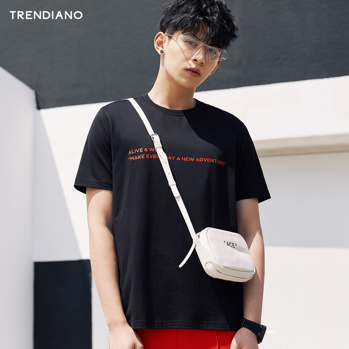 TRENDIANO新2018男装夏装休闲纯棉字母印花圆领短袖T恤3GC102379P