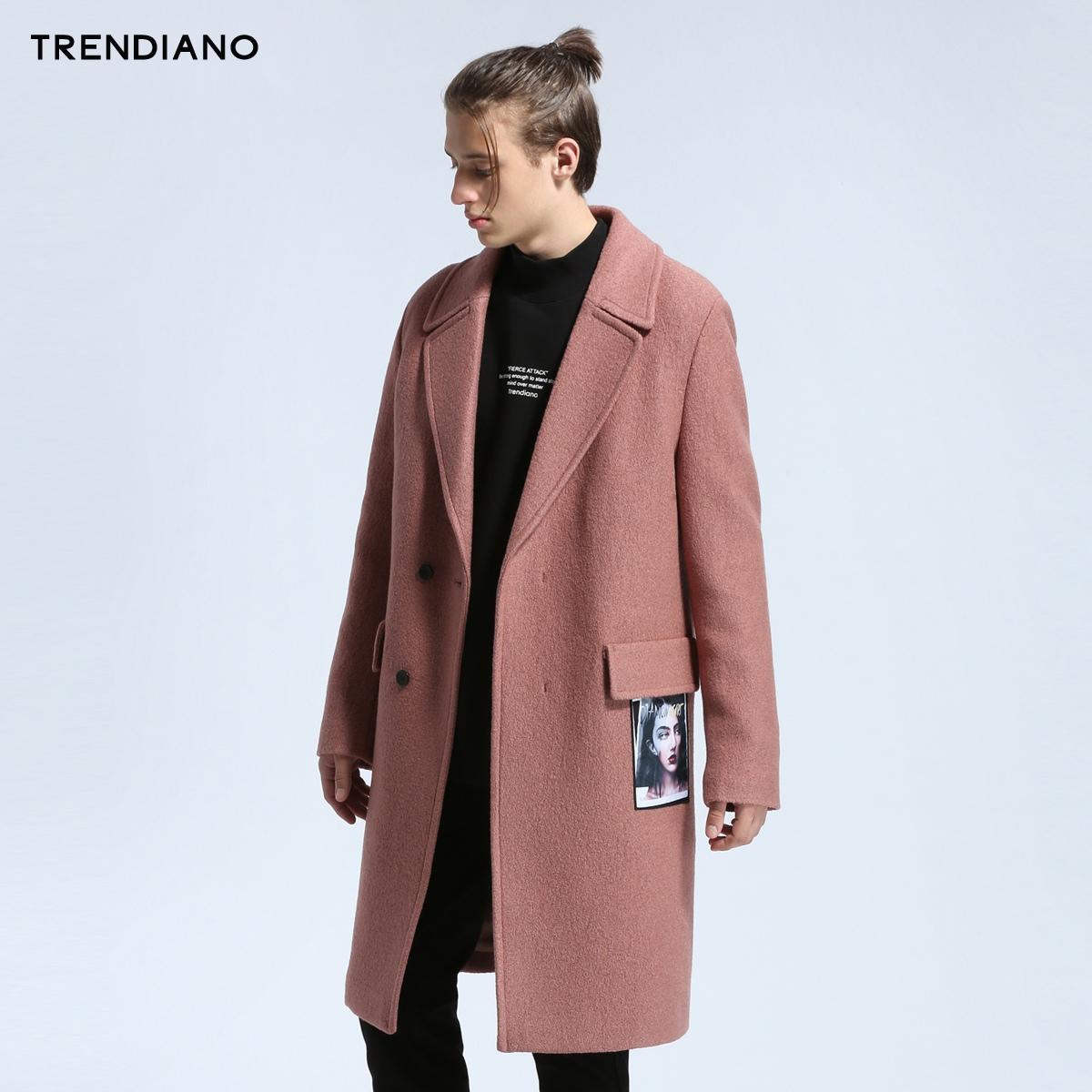 TRENDIANO新男装冬装西装式人像贴布长款毛呢外套大衣3JC4340570