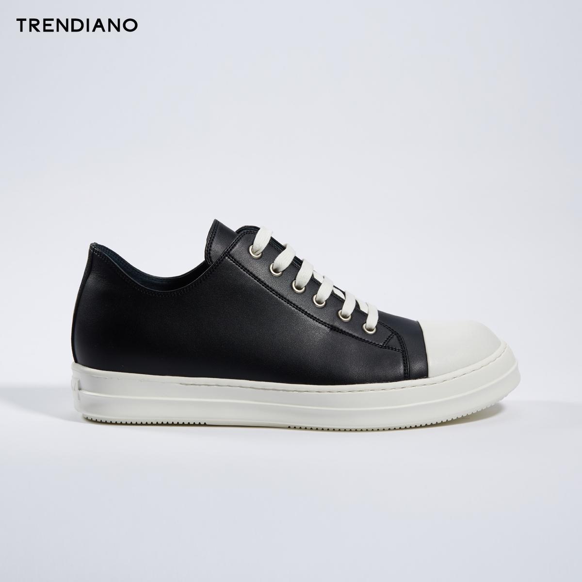 TRENDIANO新2018男装春装简约系带平底低帮休闲板鞋男3GA151805P
