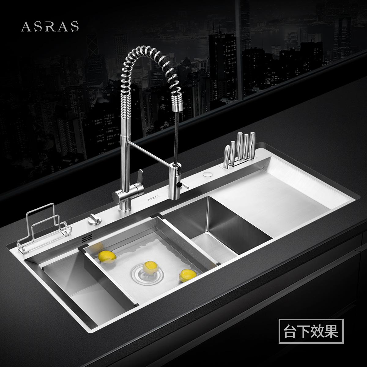 阿萨斯4MM加厚304不锈钢手工水槽套餐大单槽厨房洗菜盆带解冻板