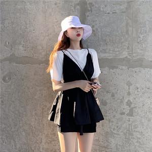 网红假两件短裤连衣裙宽松港味高腰吊带裙+狗亚app官方下载安卓T恤 851