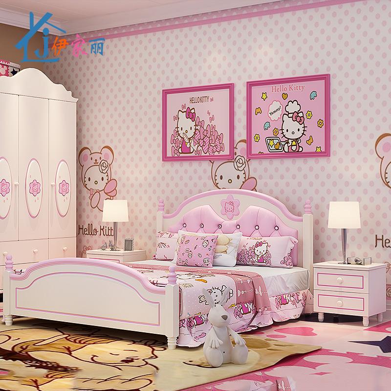 田园风格粉色儿童女孩公主单双人床一米二的床高箱储物床组合套房