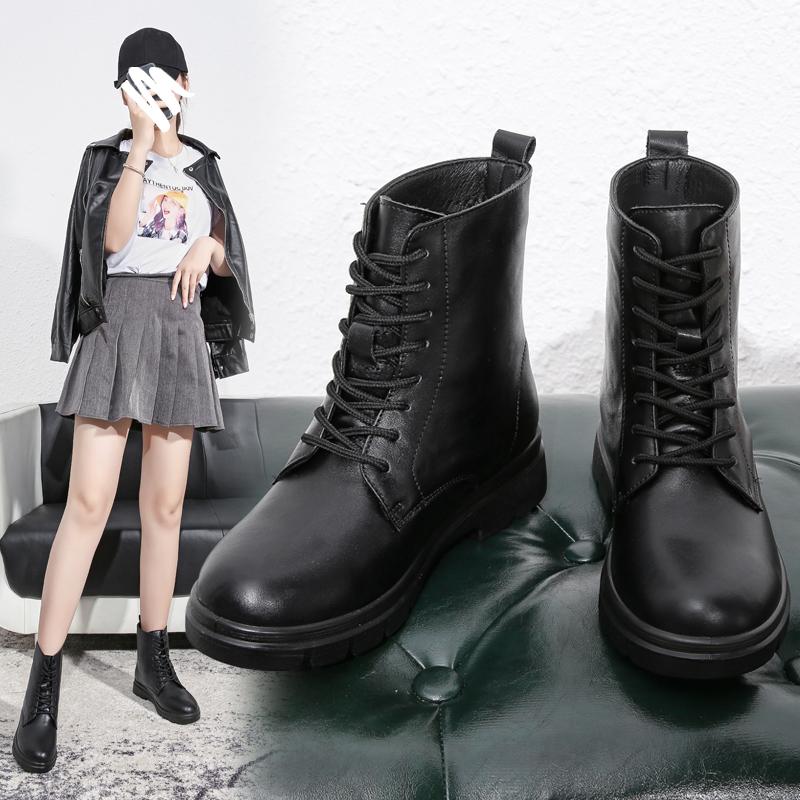 短靴女2020年新款马丁靴小个子英伦风春秋单靴网红ins瘦瘦靴真皮