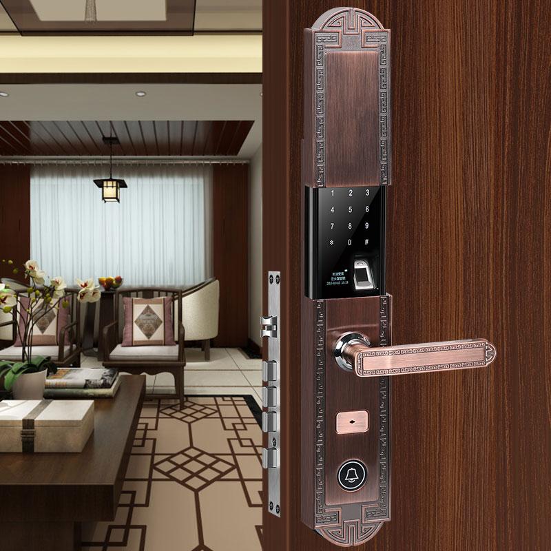 指纹锁家用防盗门中式别墅大门复古铜门电子密码锁双开门智能门锁