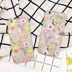 花朵小鸟iPhone6 6S硅胶手机壳浮雕苹果6plus挂绳5s外壳韩国清新