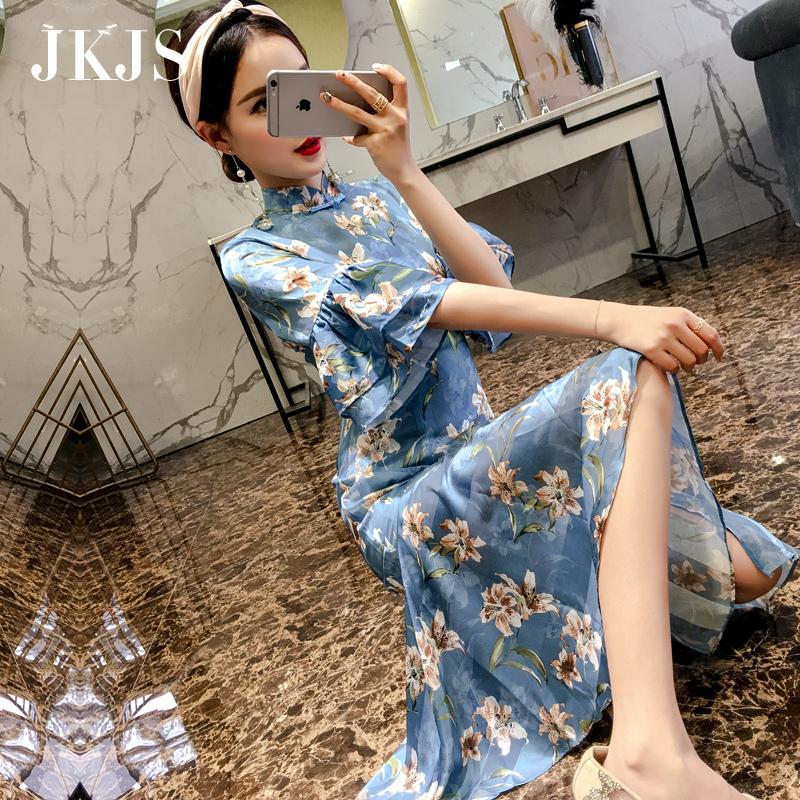 改良版旗袍夏季2018新款女中国风女装中长款少女小清新雪纺连衣裙