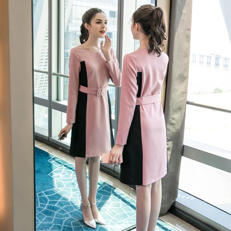 奢姿大码秋装女胖mm2018新款时尚拼接藏肉连衣裙显瘦洋气减龄裙子
