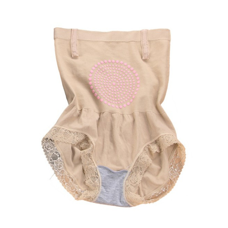秋冬款高腰磁疗暖宫收腹内裤女蕾丝产后塑身裤提臀裤不卷边