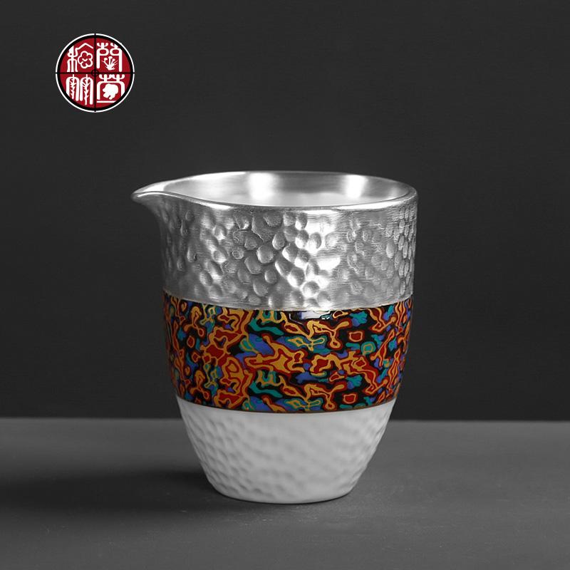 纯银公道杯陶瓷手工水波纹鎏银大漆功夫茶具配件分茶器家用公平杯