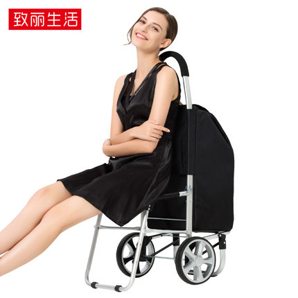 Luggage Cart FINECCI GWC-S90 Folding Portable Trolley Bag Can Sit