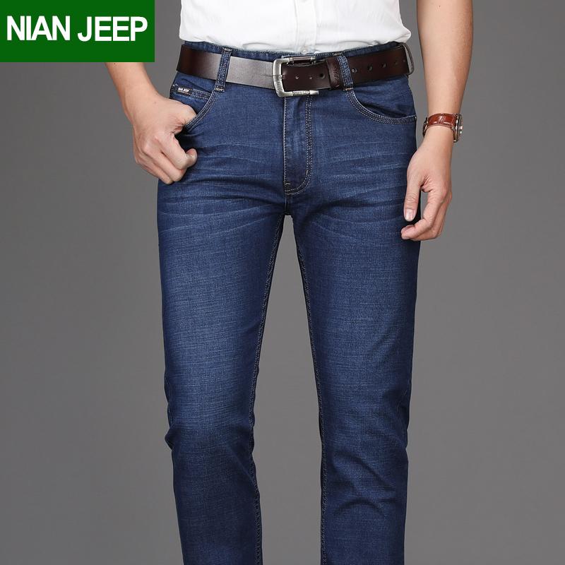 NIAN JEEP夏季薄款牛仔裤男士宽松直筒弹力男裤商务休闲长裤子
