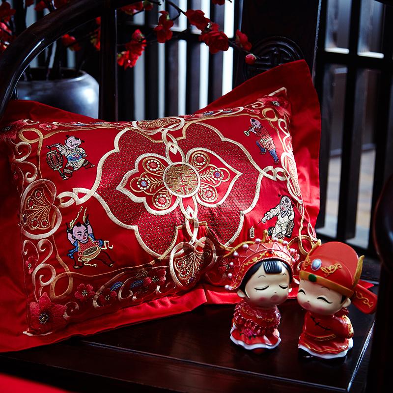 绣花夫人100支长绒棉婚庆床上用品四件套纯棉大红刺绣结婚全棉