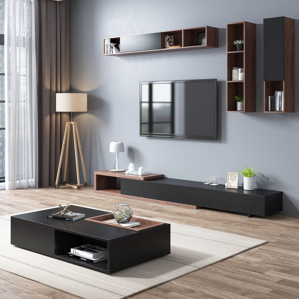 Nordic coffee table TV cabinet combination background wall living room  modern minimalist small apartment cabinet retractable furniture set