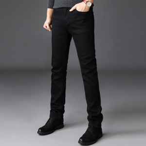 秋冬款加绒加厚超高弹力黑色牛仔裤男弹性修身小脚长裤子大码男装