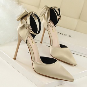5196-1 han edition shoes high heel with shallow mouth sweet hollow pointed satin bow after one word with sandals