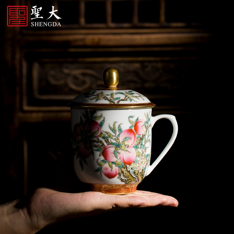 Holy big office cup hand - made ceramic famille rose, peach handle cup all hand with cover cup jingdezhen tea tea cup