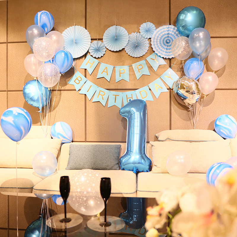 Dog Baby Birthday Decoration One Year Old 2 Years Childrens Party Balloon Background Wall Princess Boy