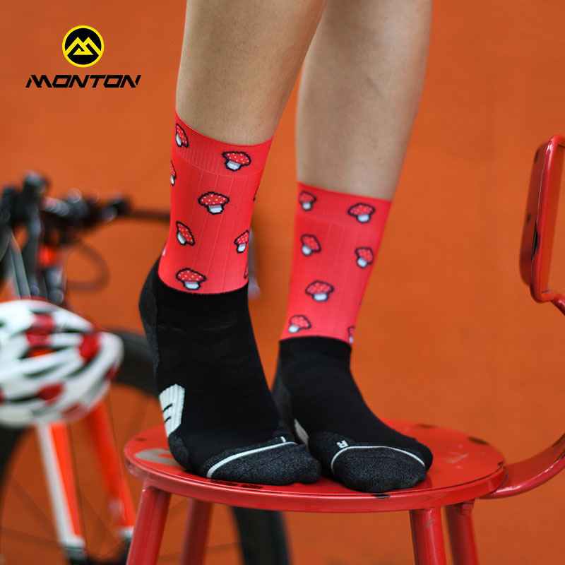 monton19骑行短袜女款四季排汗透气跑步潮袜运动长袜子两双包邮