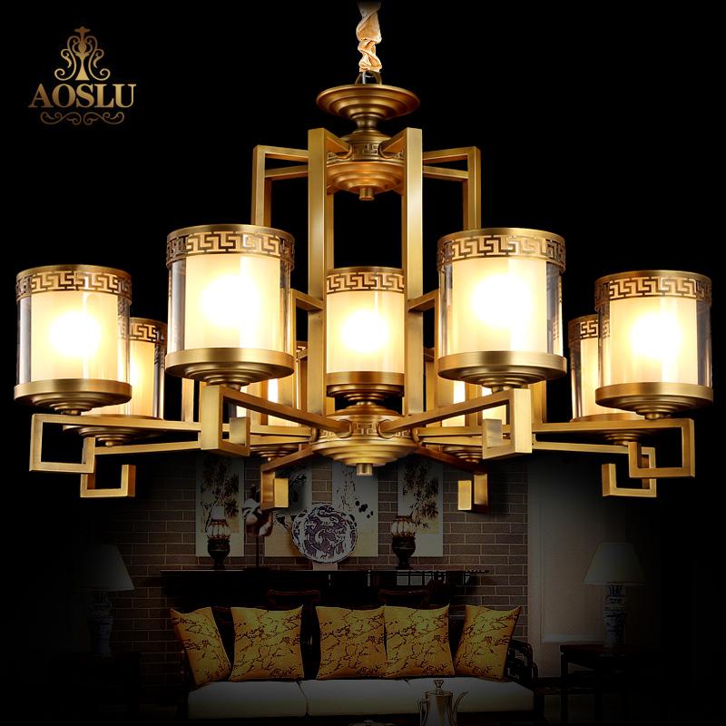 新中式吊灯卧室 复古简约全铜书房灯饰中国风仿古房间纯铜灯饰
