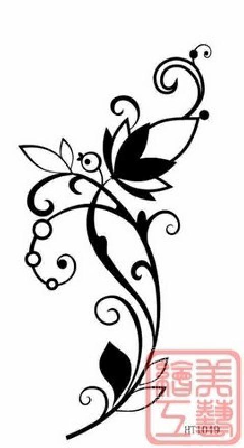 时尚文身贴 防水刺青 美女款 图腾花藤 手臂脚踝纹身唯美花藤t002