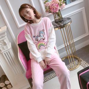 8537#秋冬季韩版甜美可爱公主风法兰绒加厚保暖学生套装家居服女