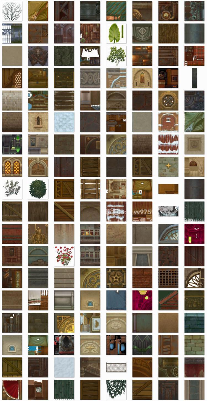 游戏贴图资源 欧美q版风 手绘场景建筑 地表石头墙面