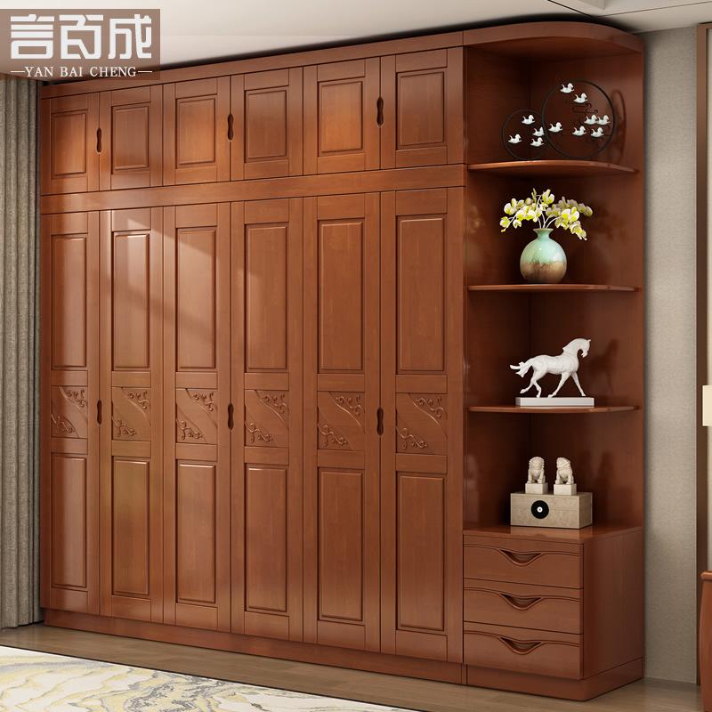实木衣柜三四五六门整体木质大衣橱平开门经济型现代中式卧室家具