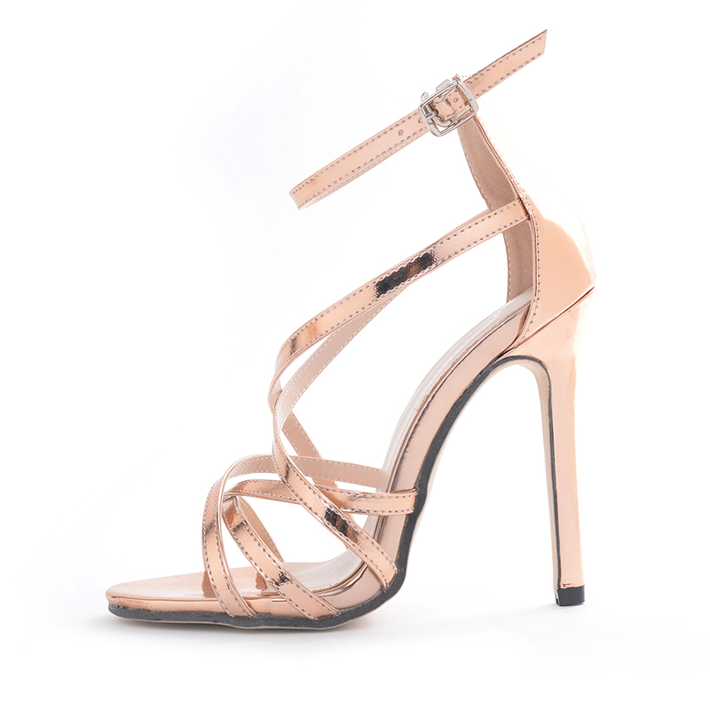 Cross-strap high-heeled sandals - gold's main photo