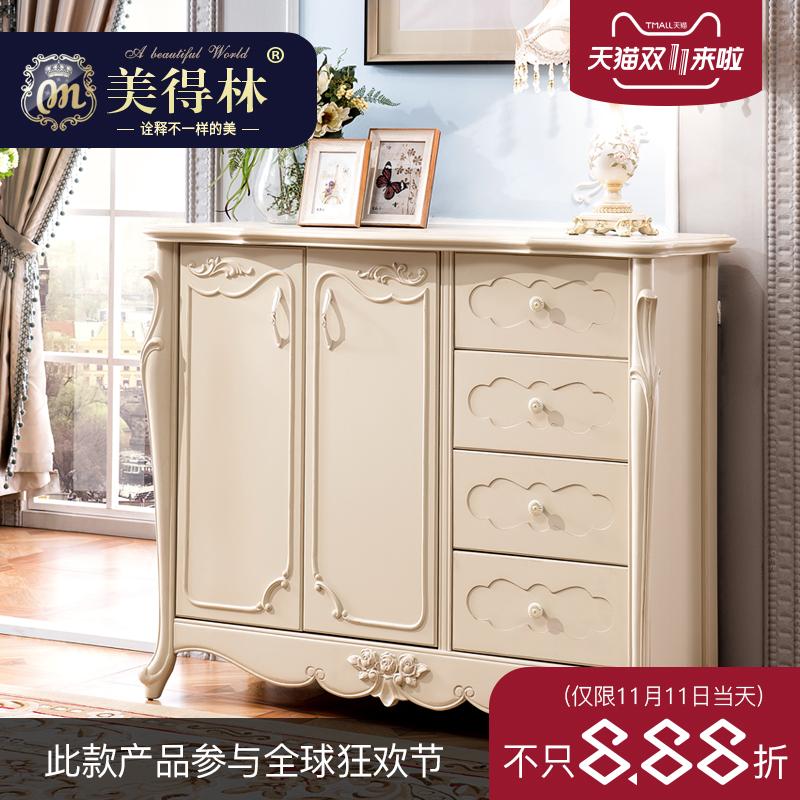 美得林欧式鞋柜简约现代玄关鞋柜白色环保烤漆法式雕花门厅柜特价